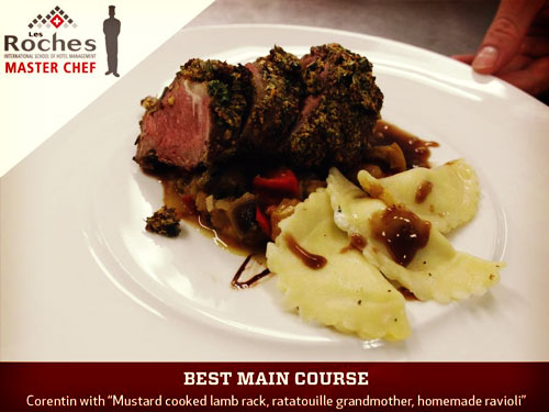 "Ruy Corentin won the prize for Best Main Course, with his delicious ""Mustard cooked lamb rack, ratatouille grandmother, homemade ravioli""."