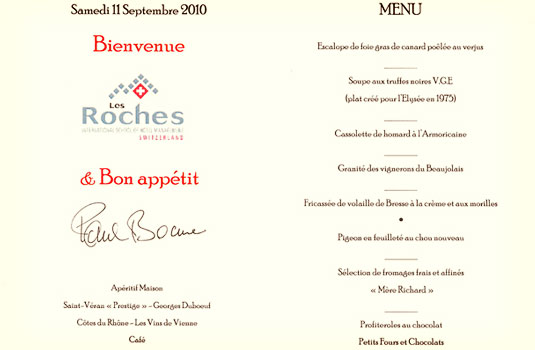 Paul Bocuse Menu